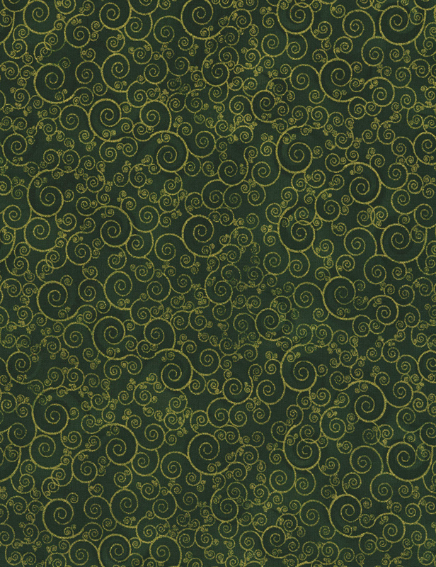Timeless Treasures Holiday CM4988 Green Scroll