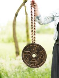 Geluksmunt van hout - Lucky coin