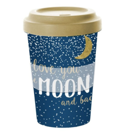 Travel mug bamboe Love you till the moon and back