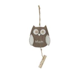 Houten hanger uil met tekst MOM