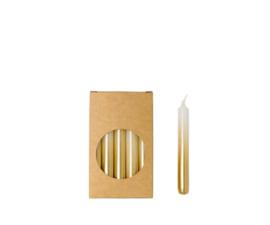 Potloodkaarsjes goud/wit in doosje van 20 stuks