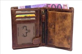 Heren Portemonnee - Cognac - hoog model - Echt Leer - RFID