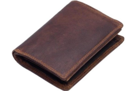 Heren Portemonnee Bruin Bilfold - hoog model - Echt Leer - RFID