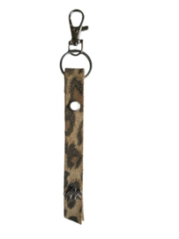 Leren sleutel - tas hanger panter print met kleine panter bedel