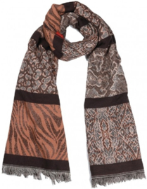 Warme Sjaal Animal Print Bruin/Grijs Multi