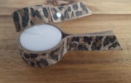 Leren waxine lichthouders panter print white off suède