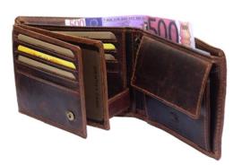 Heren Portemonnee Bruin/ Cognac - Bilfold - RFID - Echt Leer