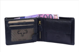 Heren Portemonnee Zwart - Bilfold - RFID - Echt Leer