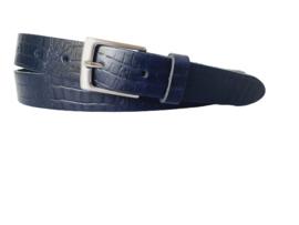 Leren Riem Blauw met croco structuur 3 cm breed