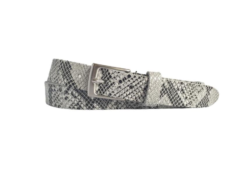 Zwart, wit,  grijs leren riem met slangen print