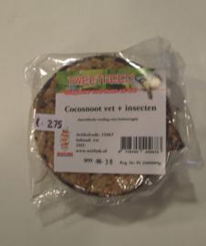 Halve cocosnoot met vet en insecten