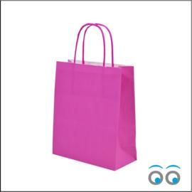 Kraft tas pink middel
