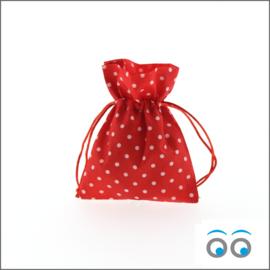 Katoen zakje-rood-witte-stip