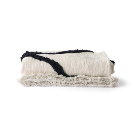 HKliving-bedsprei throw tufted zwart wit