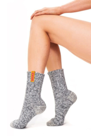 Soxs grijze wollen damessokken, Hot Candy label kuithoogte