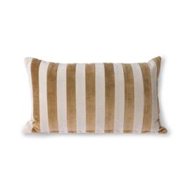 HK-living sierkussen striped velvet bruin textiel 30x50cm