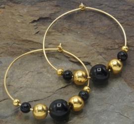 Zwart agaat met goud vermeil