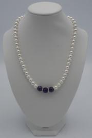 Shell-pearls/amethist  ± 42 cm