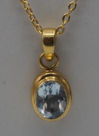 Sterling zilveren ketting gold vermeil bleu topaas, 50 cm