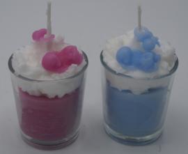 babykaars in glaasje rose/blauw