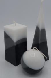 Kaarsen set zwart/grijs/wit