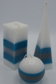 Kaarsen set Petrol/grijs/wit
