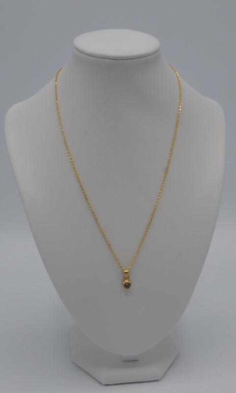 Sterling zilveren ketting gold vermeil met amethist  ± 50 cm