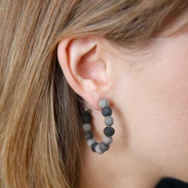 Kantha Noir Mini Hoops Earrings
