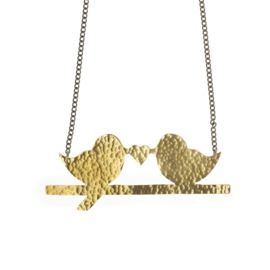 Hammered Brass Lovebirds Ketting