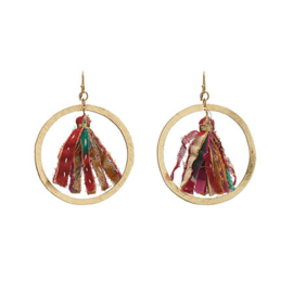 Kantha Encircled Hoops Earings