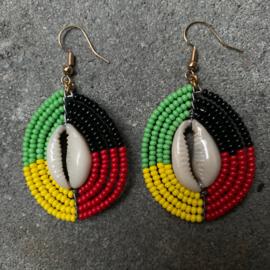 Masai Beads Schelp oorbellen 4 colour