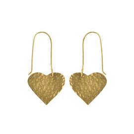 Hammered Brass Heart Oorbellen