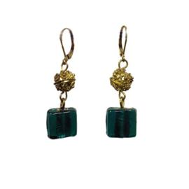 Square Glass Earrings Groen/Blauw