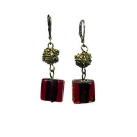 Square Glass Earrings Burgundy