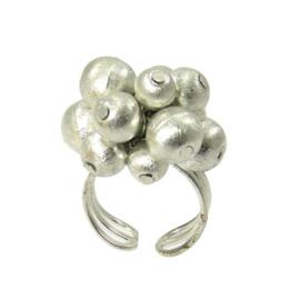 Metallic Balll Bead Ring silver