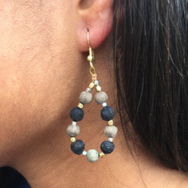 Kantha Noir Teardrop Earrings