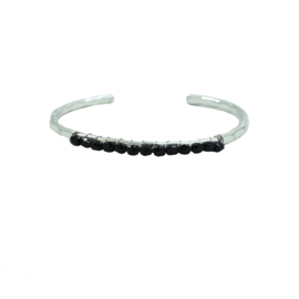 Beaded Glimmer Cuff Bracelet Silver