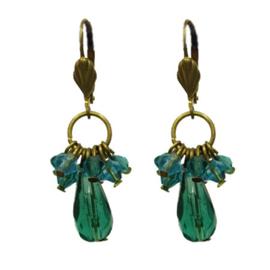 Cluster Earrings Groen/Blauw