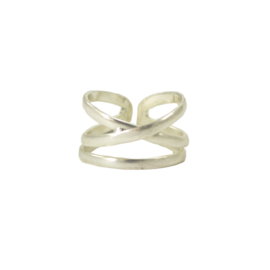 Linear X Ring Silver