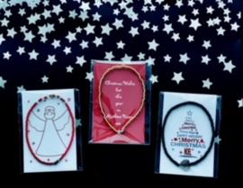 Wens/Gift kaartje met Masai Beads armbandje Kerst