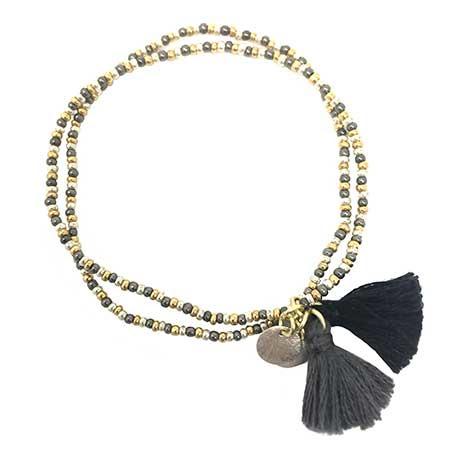 Gold Coast Tassel Bracelet - Black
