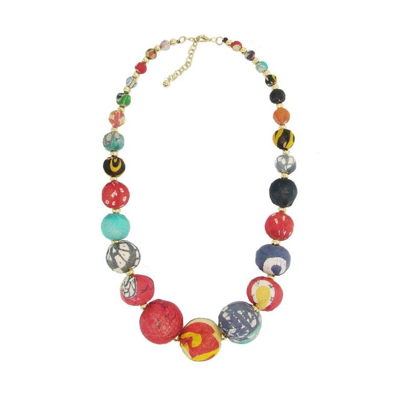 Kantha Graduated Bead Statement Necklace