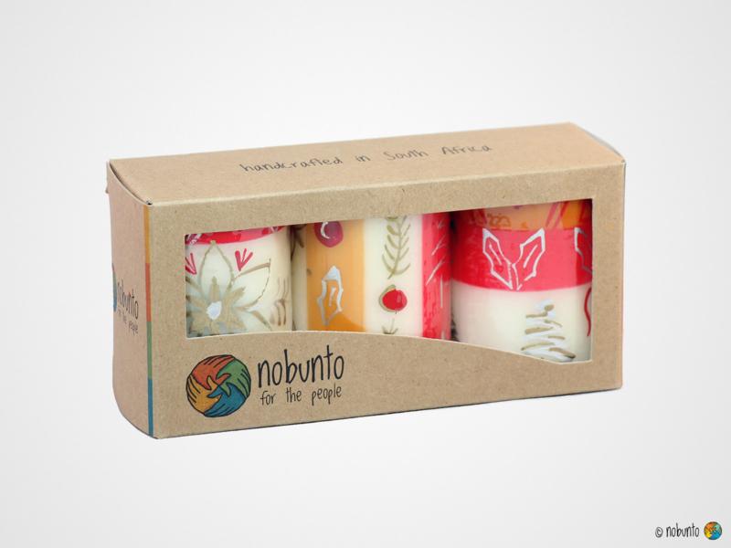 Nobunto Giftbox met 3 ronde stompkaarsen Kimeta
