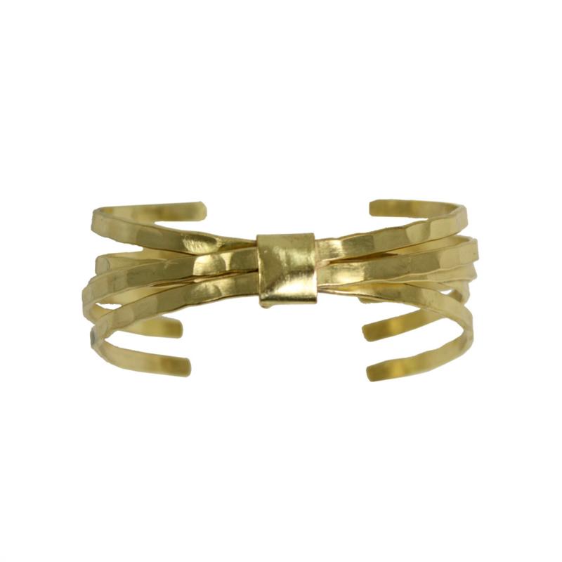 Brushed Bow Cuff Bracelet Gold