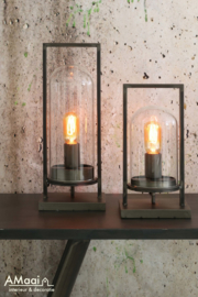 Tafellamp met stolp brons klein