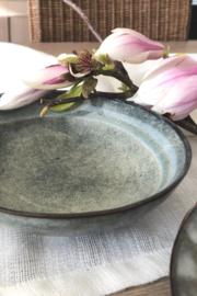 Soepkom grijs/blauw aardewerk
