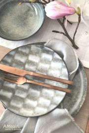 Dessertbord grijs/blauw aardewerk