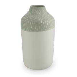 Clay vase | L | Green | Big stripe