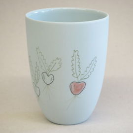 Cup food | Medium | Light blue | Radish