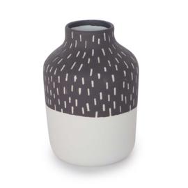 Clay vase | S | Black | Big stripe